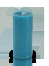 Bougie cylindre premium Bleu Turquoise 7x15cm