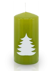 Bougie de Noël Sapin 6x12 cm Vert