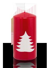 Bougie de Noël Sapin 6x12 cm Rouge