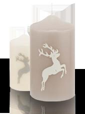 Pack de 2 bougies de Noël Cerfs Taupe et Blanc 8x15cm