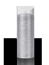 Bougie pilier striée Argent 6x15cm