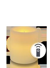 Bougie pilier LED Ivoire 7x7,5cm télécommandée