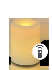 Bougie pilier LED vagues Ivoire 7x10cm avec récepteur