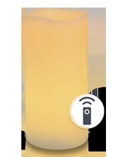 Bougie pilier LED vagues Ivoire 7,5x15cm avec récepteur