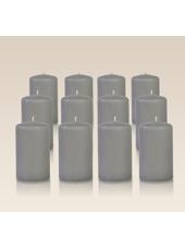 Pack de 12 bougies cylindres Gris 6x10cm