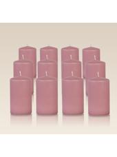 Pack de 12 bougies cylindres Vieux Rose 6x10cm