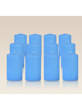Pack de 12 bougies cylindres Bleu Turquoise 6x10cm