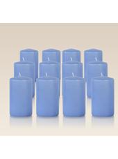 Pack de 12 bougies cylindres Bleu Arctique 6x10cm