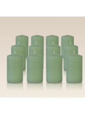 Pack de 12 bougies cylindres Menthe 6x10cm