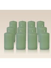 Pack de 12 bougies cylindres Menthe 6x10cm