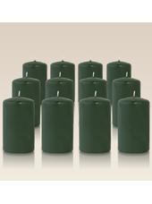 Pack de 12 bougies cylindres Vert sapin 6x10cm
