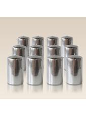 Pack de 12 bougies cylindres Argent 6x10cm