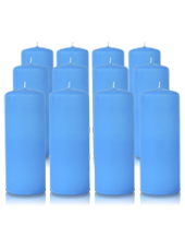 Pack de 12 bougies cylindres Bleu Turquoise 6x15cm