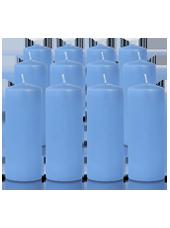 Pack de 12 bougies cylindres Bleu Arctique 6x15cm