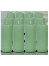 Pack de 12 bougies cylindres Menthe 6x15cm