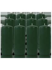 Pack de 12 bougies cylindres Vert Sapin 6x15cm