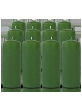 Pack de 12 bougies cylindres Vert 6x15cm