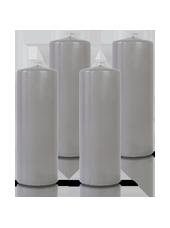 Pack de 4 bougies cylindres Gris 7x21cm