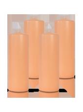 Pack de 4 bougies cylindres Rose Poudré 7x21cm