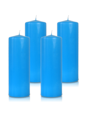 Pack de 4 bougies cylindres Bleu Turquoise 7x21cm
