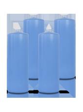Pack de 4 bougies cylindres Bleu Arctique 7x21cm