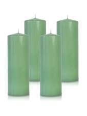 Pack de 4 bougies cylindres Menthe 7x21cm