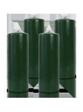 Pack de 4 bougies cylindres Vert Sapin 7x21cm