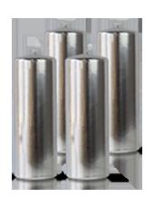 Pack de 4 bougies cylindres Argent 7x21cm