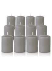 Pack de 12 bougies votives Gris 5x7cm