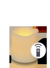 Bougie pilier LED Vagues Ivoire 7,5x7,5cm avec récepteur