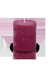 Bougie cylindre rustique Bordeaux 7x8cm