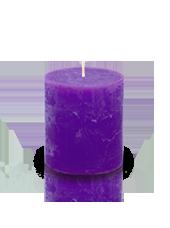 Bougie cylindre rustique Violet aubergine 7x8cm