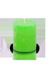 Bougie cylindre rustique Vert pistache 7x8cm