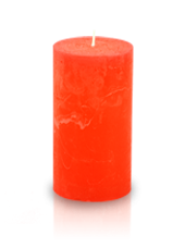 Bougie cylindre rustique Orange 7x15cm