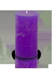 Bougie cylindre rustique Violet aubergine 7x15cm
