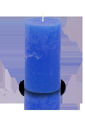 Bougie cylindre rustique Bleu roi 7x15cm