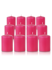 Pack de 12 bougies votives Fuchsia 5x7cm