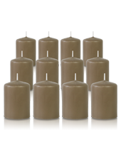 Pack de 12 bougies votives Taupe 5x7cm