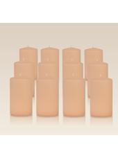 Pack de 12 bougies cylindres Rose Poudré 6x10cm