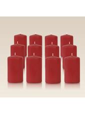 Pack de 12 bougies cylindres Carmin 6x10cm