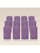 Pack de 12 bougies cylindres Parme 6x10cm