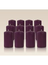 Pack de 12 bougies cylindres Prune 6x10cm