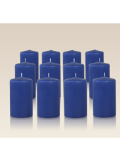 Pack de 12 bougies cylindres Bleu saphir 6x10cm