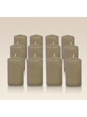 Pack de 12 bougies cylindres Taupe 6x10cm