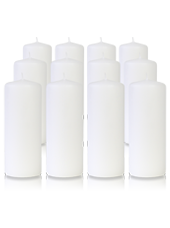 Pack de 12 bougies cylindres Blanches 6x15cm