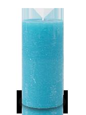 Bougie rustique Turquoise 14x7cm
