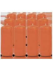 Pack de 12 bougies cylindres Citrouille 6x15cm