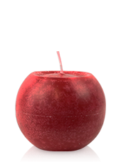 Bougie ronde marbrée Rouge 8cm