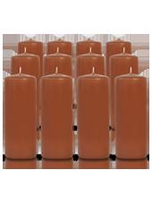 Pack de 12 bougies cylindres Caramel 6x15cm
