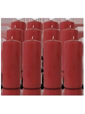 Pack de 12 bougies cylindres Carmin 6x15cm